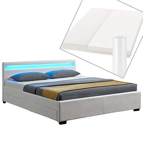 ArtLife LED Polsterbett Lyon 140 x 200 cm mit Bettkasten – Bettgestell inkl. Matratze & Lattenrost - Kunstleder – weiß – Einzelbett Jugendzimmer Bett