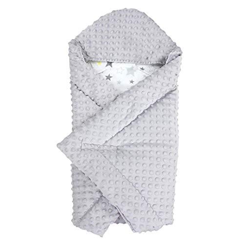 TupTam Baby Winter Einschlagdecke für Babyschale Wattiert, Farbe: Sterne Hellgrau Gelb/Weiß, Größe: ca. 75 x 75 cm