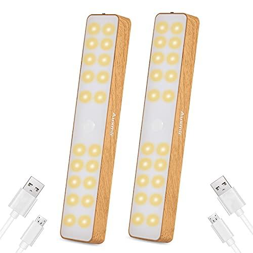 Auxmir Schrankbeleuchtung LED Sensor Licht, USB Wiederaufladbares Schranklicht mit Bewegungsmelder, Unterbauleuchte mit 4 Magnetstreifen & 2 USB Kabel für Küche Treppe Kinderzimmer, Warmweiß, 2 Stück
