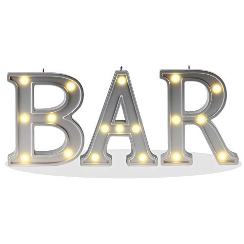 """Decorative Illuminated BAR Marquee Word Sign (Silver Color 4.21"""" Tall) - Lighted Letter Words and Signs For Indoor BAR Decor - BAR"""
