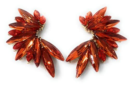 Pendientes cristales coloridos mujer alta bisutería fiesta, chapado oro naranja