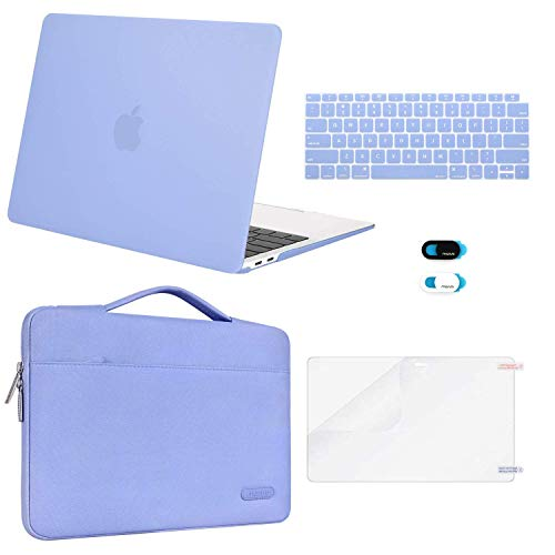MOSISO MacBook Air 13 inch Case 2020 2019 2018 Release A2179 A1932, Plastic Hard Shell&Sleeve Bag&Keyboard Cover&Webcam Cover&Screen Protector Compatible with MacBook Air 13 inch Retina, Serenity Blue