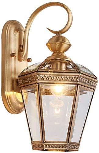Lámpara de pared Retro Aplique, Lámpara de pared de cobre vintage interior / al aire libre impermeable impermeable Talla de oro Flor de flores E27 Transparente Transparente Sombra de cristal Rústico D