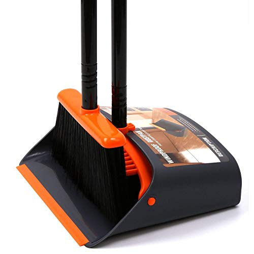 "TreeLen Dustpan and Broom/Dustpan Cleans Broom Combo with 52"" Long Handle for Home Kitchen Room Office Lobby Floor Use Upright Stand Up Broom and Dustpan Set"