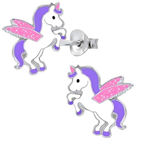 Kids Glitzer Flügel Einhorn Ohrstecker 925 Echt Silber Pferde Kinder Mädchen Ohrringe (Lila-Rosa)