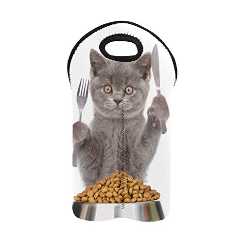 Wine Totes Domestic Cat Eat Food in Bowl Wine Tasting Bags Double Bottle Carrier Wine Totes Thick Neoprene Wine Bottle Holder Keeps Bottles Protected