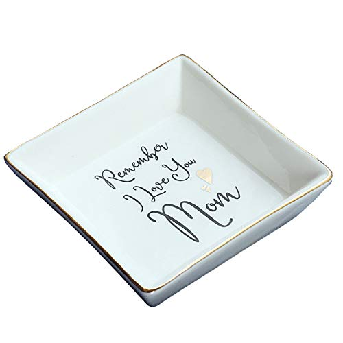 Ceramic Jewelry Tray Ring Dish Ring Holder Display Organizer with Golden Edged Mother's Day Birthday Gift (colour 1)