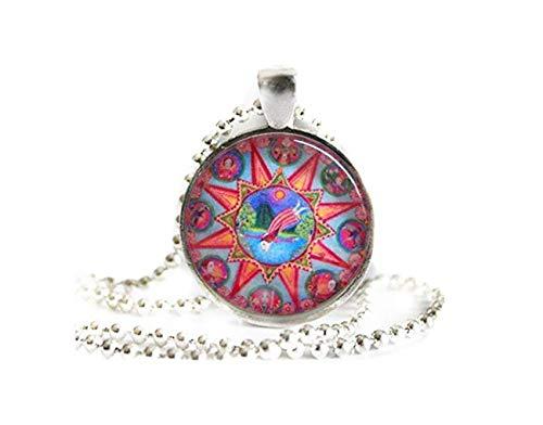 Ram Mandala Art Ketting, astrologie sieraden, dierenriem hanger April verjaardagscadeau voor vriend Glas Tegel Vintage Zilver Plated Setting