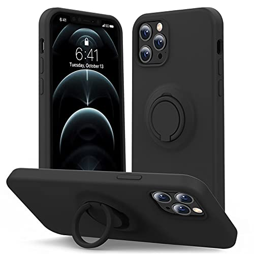 MHH Compatible with iPhone 12 Case & iPhone 12 Pro Case [ Liquid Silicone with Kickstand ] | Microfiber Liner | Slim Full Body Duty Heavy Protective Cover Case for Men - Black