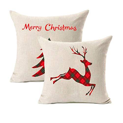 LEIOH Juego de 2 Fundas de cojín Decorativas para sofá, diseño de Cuadros, Color Rojo y Negro