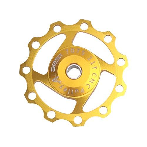 DEBAIJIA Trasero de Desviador Jockey Rueda 11T Polea de Cambio Trasero Guía Polea Aleación de Aluminio Cojinetes sellados Accesorios para Ciclismo de MontañaBicicleta - Dorado