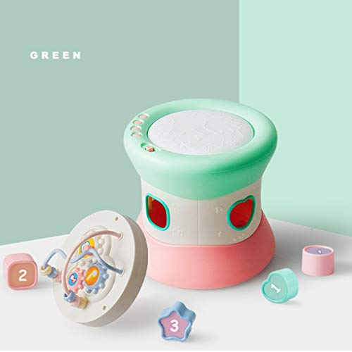 Jouets bébé Musical Tambour Early Education Puzzle Sons et Jouets légers for l'apprentissage Baby Toy Cadeau for Les garçons Filles Enfants en Bas âge (Color : Green, Size : 17 * 17 * 16.5CM)