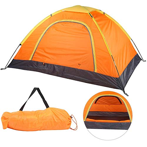 Naroote Portable Outdoor Tent, Humanized Camping Tent, Waterproof Fabrics Exquisite Workmanship Orange and Green Field for Outdoor(Orange)