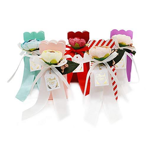Hantier 30 Piezas Cajas de Dulces Para Bodas Con Cinta y Flor, Bolsa de Regalo Caja de Chocolate Caja de Regalos de Cartón Para la Boda/Cumpleaños/Fiesta (5 colores)
