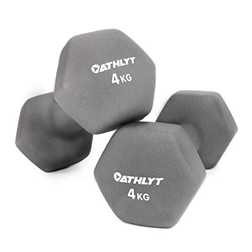 Athlyt, Set di manubri rivestiti in neoprene, 2 x 4 kg, grigi