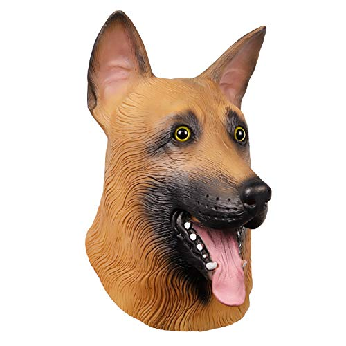 Novelty Latex Rubber German Shepherd Dog Animal Head Mask Super Bowl Underdog Head Halloween Party Costume Decorations Mask for Eagles Fans
