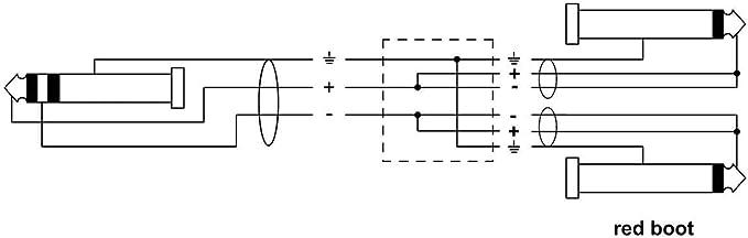 Cable adaptador en Y clavija est/éreo dorada de 3,5 mm a 2 clavijas mono doradas de 6,3 mm, longitud: 0,9 m Cordial CFY 0,9 WPP