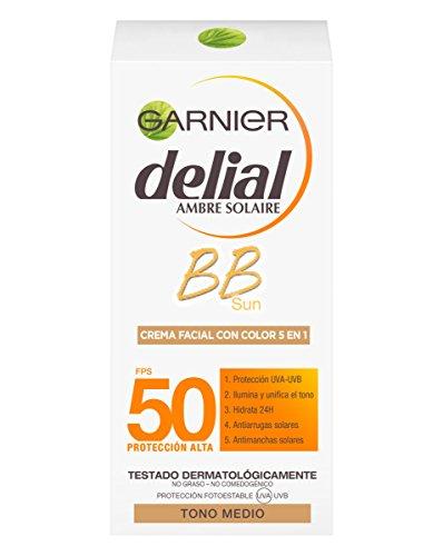 Garnier Delial BB Sun Crema Protector Solar con Color Especial Rostro y Escote IP50+ con Vitamina E - 50 ml