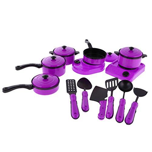 1:12 Puppen Küchengeschirr Kochgeschirr Zubehör, Puppenhaus Miniatur Geschirr Spielzeug - Lila