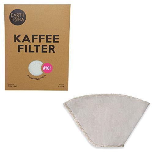 Earthtopia 3er Set wiederverwendbare Kaffeefilter aus Stoff | 100{d705ab69c2295c794e012dd6efbc8a6e8cbdc37384311c3ebc339bf4d4c20e42} Hanf | ökologische Filtertüten für Kaffeemaschine und Handfilter | Permanentfilter Mehrwegfilter Dauerfilter (3 Stück, Größe 101)