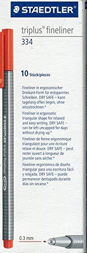 Staedtler Triplus Fineliner 334 SB10 Tips Skrivbordslåda standardförpackning Pack of 10 Röd