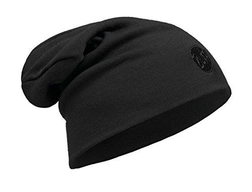Buff® Set - Thermal HAT Merino Slouchy Beanie Wintermütze + UP® Ultrapower Schlauchtuch | Merinowolle | Strickmütze | Logo | Atmungsaktiv | Geruchshemmend, Buff Design allgemein:Black | 111170.999.10
