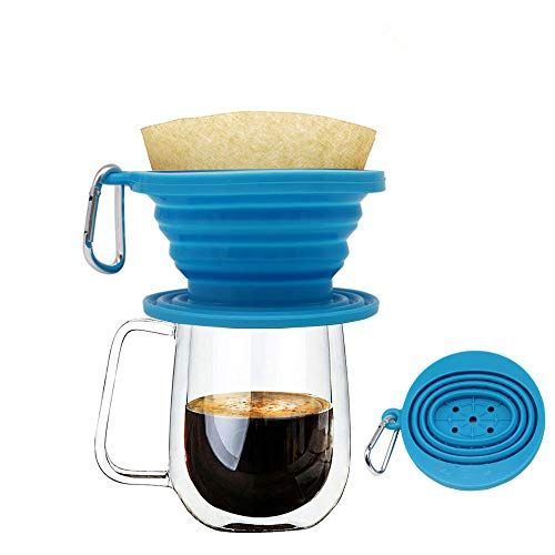 Wolecok Faltbarer Kaffeefilter aus Silikon, lebensmittelecht, perfekt für Draußen und für Unterwegs mit gratis Haken, plastik, blau, Einheitsgröße