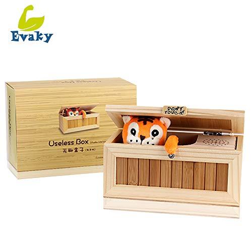 """Einzigartige kreative Musikbox aus Holz """"Useless Box"""" von Evaky, Aufschrift: """"Don't Touch"""", Tiger in Holzkiste, Geschenk und Juxartikel für Erwachsene und Kinder, Spielzeug"""