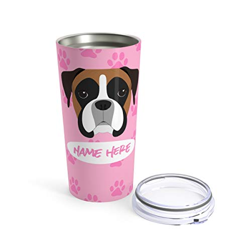 Custom Boxer Travel Mug - Mugs for Dog Lovers Moms Dads Personalized Tumbler or Mug for Coffee Beer Warm Cold Drinks Men Women Dogs Gifts