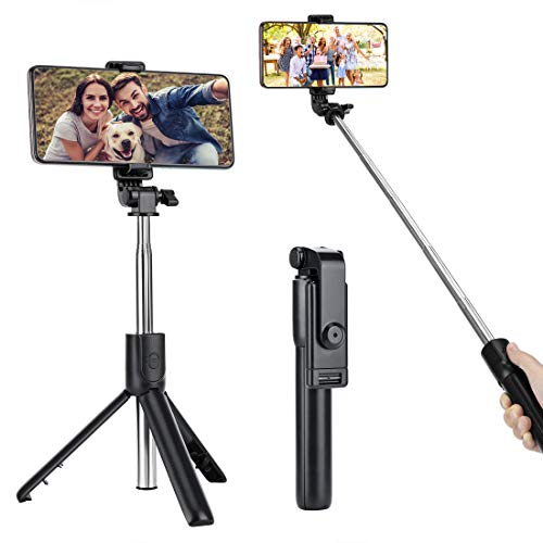 Selfie Stick Tripod, USTINE Extendable Bluetooth Selfie Stick with Wireless Remote and Tripod Stand, Portable, Lightweight, for iPhone 11/11 pro/X/8/8P/7/7P/6s/6,Samsung Galaxy S9/S8/S7/Note 9/8 More