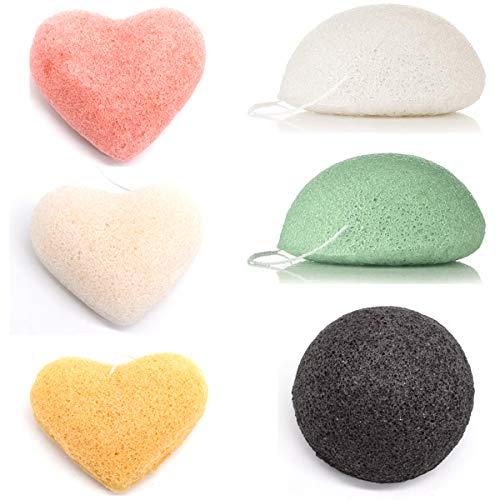 Yueser 6 Pcs Esponja Konjac Facial Esponjas Limpiadoras Naturales para Pieles Sensibles Grasas y Propensas a Tener Acné Exfolia y Limpia la Piel (5 Colores)