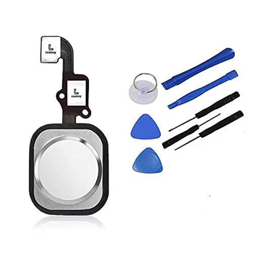 Leakey Home Button compatibile con iPhone 6/6 Plus (bianco) con cavo flessibile, pulsante di protezione in metallo e guarnizione in gomma preinstallata, kit di riparazione per una facile installazione
