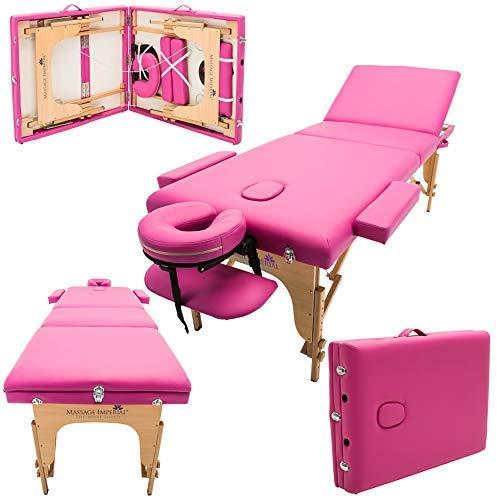 Massage Imperial® - tragbare Profi-Massageliege Chelsea - leicht 16 kg- 3-teilig - Rosa