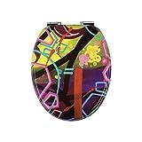 Abattant WC en Bois Laqué – Tohaa Design - Double Frein de Chute et Charnières Zinc - Modèle Universel - Œuvre OriginaleStreet SignéeBlazer - Fixations Universelles WC fournies