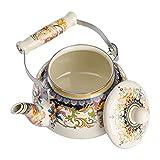 DOITOOL Chaleira de chá floral vintage em aço para fogão de 2,5 L grande de porcelana esmaltada para cozinha doméstica