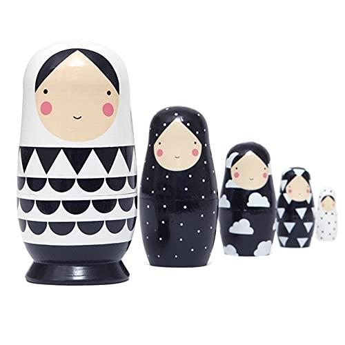 Muñeca de Dibujos Animados Matrioska Juegos de Muñecas Rusas Niña Pintados Muñecos de Anidación de Patrón de Niña de Dibujos Lindo Muñecas Babushka Niña Matryoshka para Niños Regalo (A)