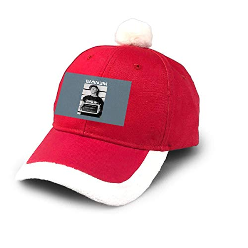 GGdjst Weihnachtsmützen, Eminem Arrest Slim Shady Mugshot Logo Christmas Hats Red Santa Baseball Cap for Kids Adult Families Celebrate New Year Party