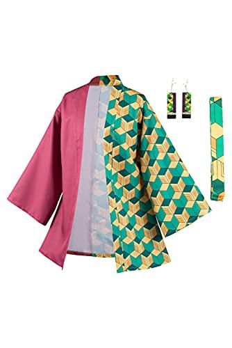 Haydory Demon Slayer Kimono Kimetsu No Yaiba Haori Yukata Bademantel Tomioka Giyuu Cosplay Kostüm Outfit