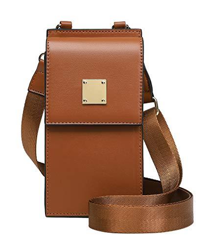 Bolso de Teléfono móvil para Mujer Bolso de Hombro de Cuero Crossbody Bag Correa Ajustable Pequeño Bolso Bandolera con Ranuras para Tarjeta marrón
