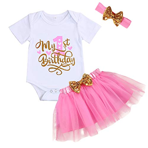 Baby Girl Birthday Cake Smash Outfit Toddler Girl My 1st Birthday Romper Tutu Skirt with Headband Clothes Set (Hot Pink, 12 Months)