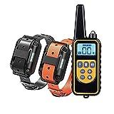 saxz Collar De Adiestramiento De Perros para 2 Perros, con Control Remoto/Pantalla LCD, Collar De Ladridos De Perro Impermeable Recargable para Adiestramiento De Perros Domésticos(Color:2)