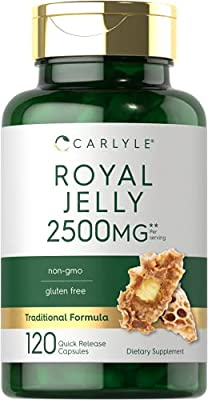 Royal Jelly Capsule | 2500mg | 120 Count | Non-GMO and Gluten Free Formula | Traditional Supplement | by Carlyle