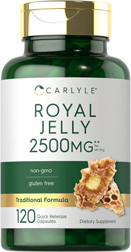 Royal Jelly Capsule | 2500mg | 120 Count | Non-GMO and Gluten Free Formula | Traditional Supplement...