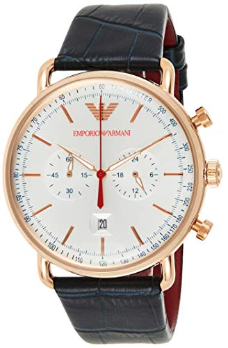 Emporio Armani Herren Chronograph Quarz Smart Watch Armbanduhr mit Leder Armband AR11123