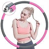 TTMOW Hula Fitness Hoop - Pneumatico per adulti per ridurre il peso, con acciaio inossidabile e schiuma, 8 segmenti rimovibili, peso regolabile