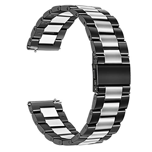 TRUMiRR Kompatibel mit Galaxy Watch Active2/Galaxy Watch Active/Galaxy Watch 42mm Armband, 20mm Quick Release Uhrenarmband Edelstahl Metall Ersatzband für Samsung Galaxy Watch 42mm,Garmin Vivoactive 3