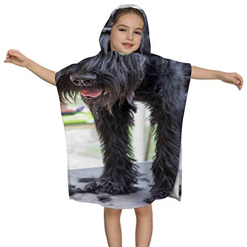 IUBBKI Giant Black Schnauzer Dog is Groomed Standing on The Table Czech Republic,Kids Hooded Beach Bath Towel - Swim Pool Coverup Poncho Cape Multi-use Animal Groomer