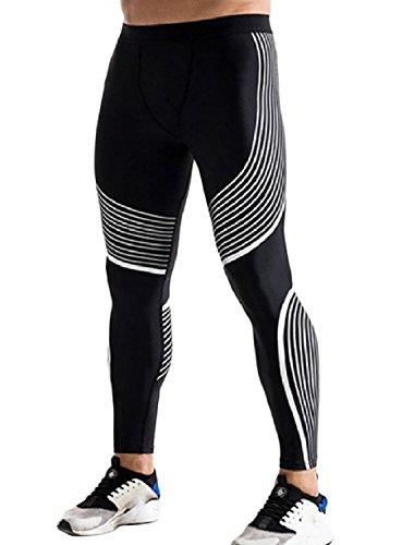 Yusky Mens Quick Dry Athletic for Fitness Jammer Baselayer Leggings White L