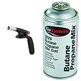GoSystem Auto Start Blow Torch & Butane/Propane (70:30) Mix Gas Cartridge - Silver, 170 g