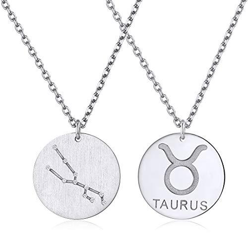 Platino Tauro Piscis Medallas Circulares Doble Cara Plata de Ley 925 con Diamante Zirconia Cúbica Figura